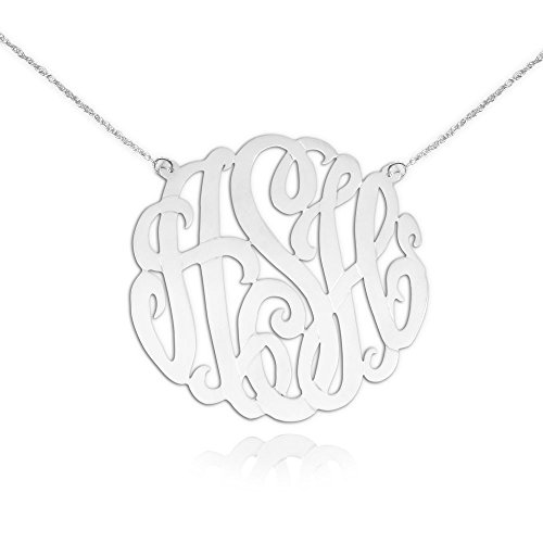 Monogram Necklace Silver - Personalized Initial Necklace - 1.5 inch - Handcrafted Designer - Initial Monogram Necklace - Made in USA (Necklace Jewelry Monogram)