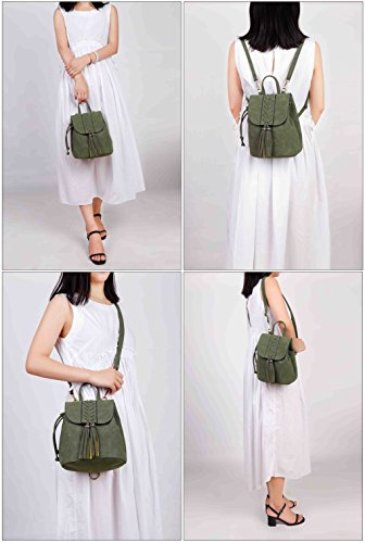 Ricamato Partito Morbido Girls Scuro Viaggiare bohemian Rucksack Pu Zaino Holiday Party Verde Fashion Shopping Per Donna lKuFc351JT