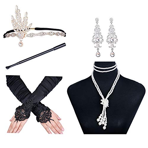 Finrezio 1920s Accessories Set Women Headpiece Hoop Earrings Pearl Necklace Stretch Gloves Cigarette Holder Rhinestone Fancy Dress -