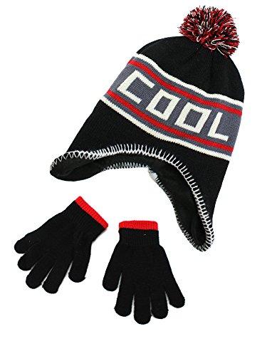 Polar Wear Boys Knit Beanie Hat with Words & Gloves