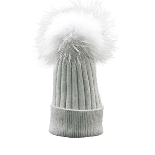 [EKIMI Women's Winter Crochet Hat Fur Wool Knit Beanie Raccoon Warm Cap Hat (Gray)] (Hip Hop Felt Hat With Feather)