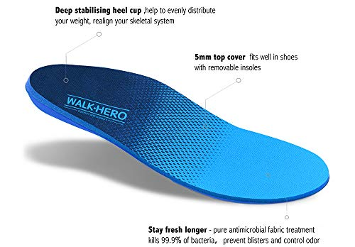 Plantar Fasciitis Feet Insoles Arch Supports Orthotics Inserts Relieve Flat Feet, High Arch, Foot Pain Mens 13-13 1/2 by WalkHero (Image #1)