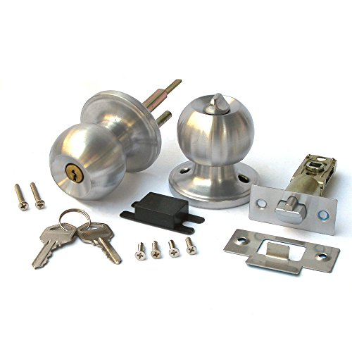 Duratron Stainless Keyed Entry Rotation Round Door Knobs Handle Entrance Passage Lock