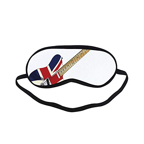 Union Jack Fashion Black Printed Sleep Mask,Classical Electric Guitar UK Flag Great Britain Music Instrument Decorative for Bedroom,7.1