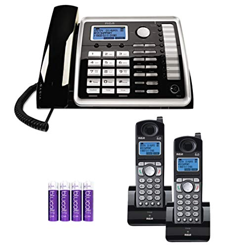 - RCA 25260 2-Line Expandable Phone System - Full Duplex Telephone with Built-in Intercom Bundle with RCA 25055RE1 DECT 6.0 Cordless Accessory Handsets (2-Pack) and 4 Blucoil AA Batteries