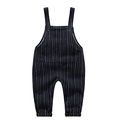 Ding-dong Baby Toddler Boy Girl Striped Overalls(Navy,3-6M) by Ding Dong