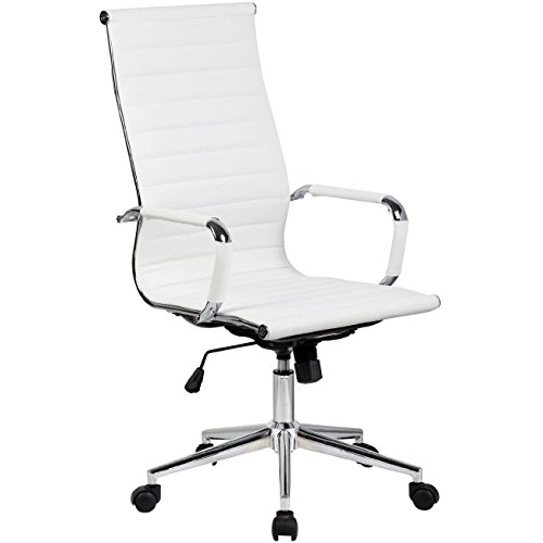 Amazon.com: 2xhome White Contemporary Modern High Back Ribbed PU Leather  Tilt Adjustable Office Chair With Wheels U0026 Arm Rest Rolling Designer For  Home Boss ...