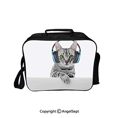 Travel Picnic Lunch Box Wide Open Lunch,Cute Funny Short Hair Cat Listening Music with Headphones Creative Kitten Animal Art Decor Grey White 8.3inch,Lunch Bags For Unisex Adults ()