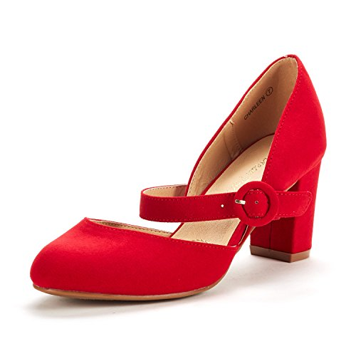 DREAM PAIRS Women's Charleen Red Suede Classic Fashion Closed Toe High Heel Dress Pumps Shoes Size 10 M US by DREAM PAIRS