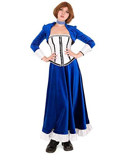 Miccostumes Women's Elizabeth Cosplay Costume Anna Dewitt Blue Outfit (XL) -