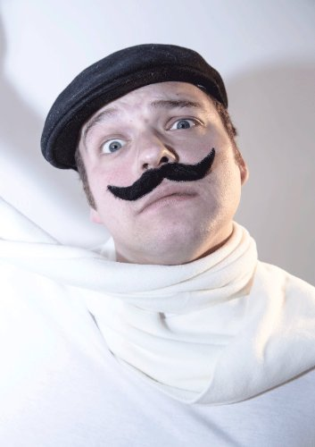 [The 'Wings' fake stick-on fancy dress moustache from Super-Stache - Black] (Britain Costume Ideas)