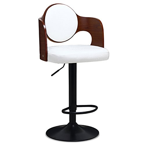 Solid wood back PU leather, paint accessories, European style simple style lift chairs, bar chairs,Conform to public aesthetics ( Style : C ) by Xin-stool