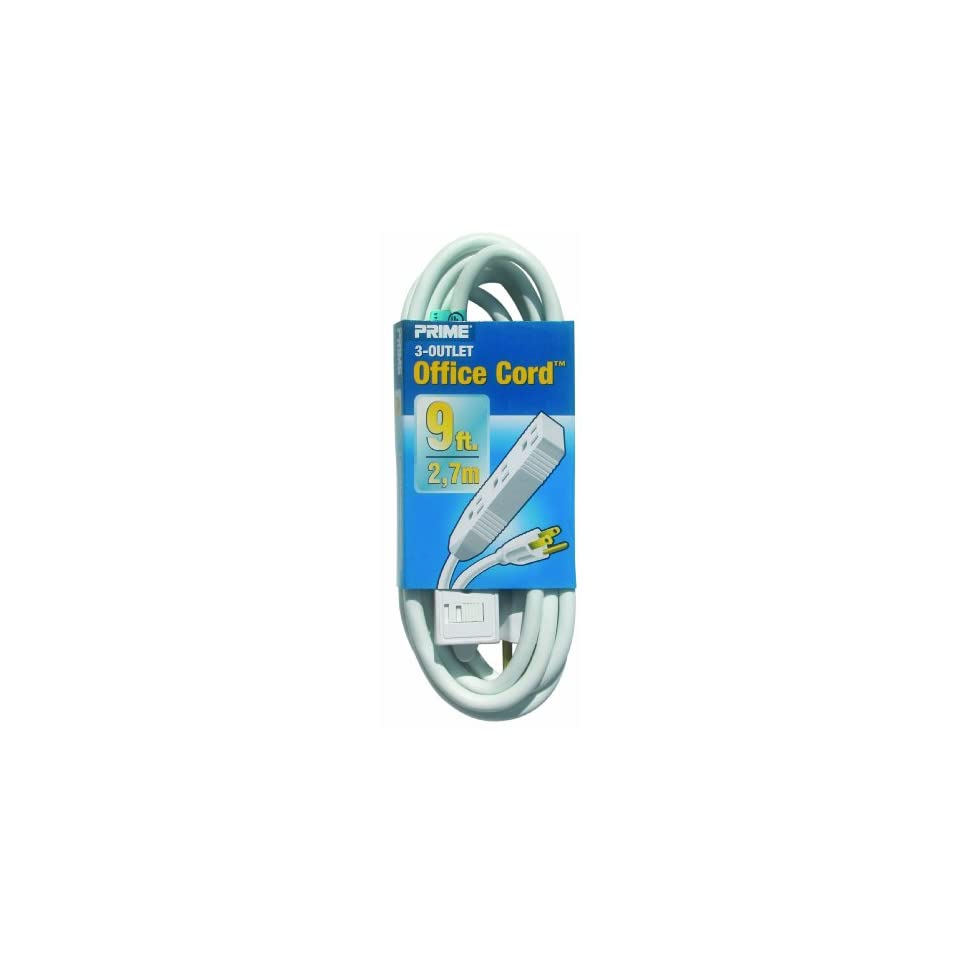 Prime Wire & Cable EC890609 9 Foot 16/3 SJT 3 Outlet Indoor Cord, White