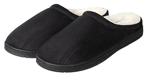 CareBey Men's Comfortable Winter Warm House Slip On Memory Foam Plush House Slippers Black US 9.5-10.5 M
