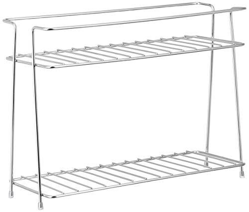 Amazon Brand – Solimo Multipurpose Stainless Steel Kitchen Storage Rack, 2 Shelves