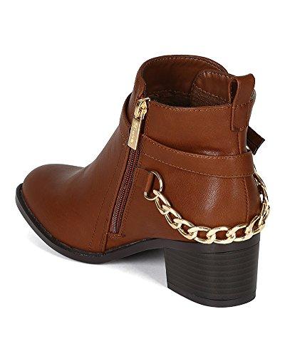 Breckelles Bg21 Leatherette Chain-linked Buckle Enkellaarsjes Voor Dames