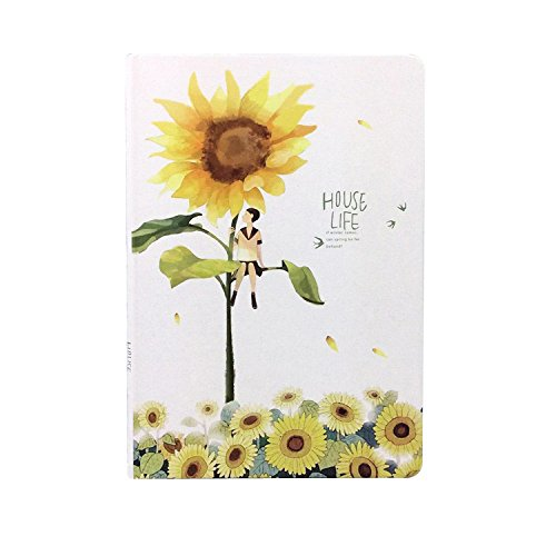 Let Life be Beautiful Like Summer Flowers Hardcover Color Page Notebook Cute Girl Diary Book Personal Journal School Stationery (D)
