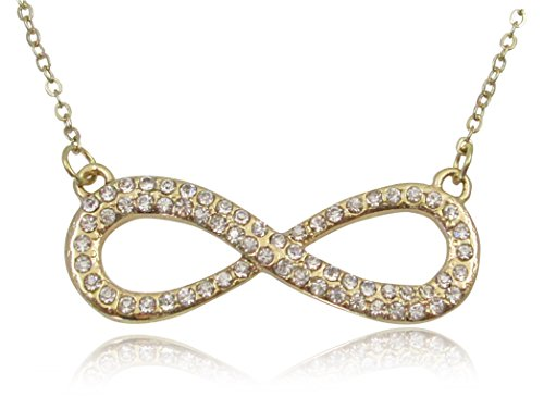 Gold Tone Crystal Embellished Infinity Sign Symbol Necklace Fashion Jewelry for Teens, Women