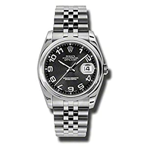 Rolex Oyster Perpetual Datejust 36mm Stainless Steel case, Domed Bezel, Black Concentric Circle Dial, Arabic Numerals And Jubilee Bracelet.