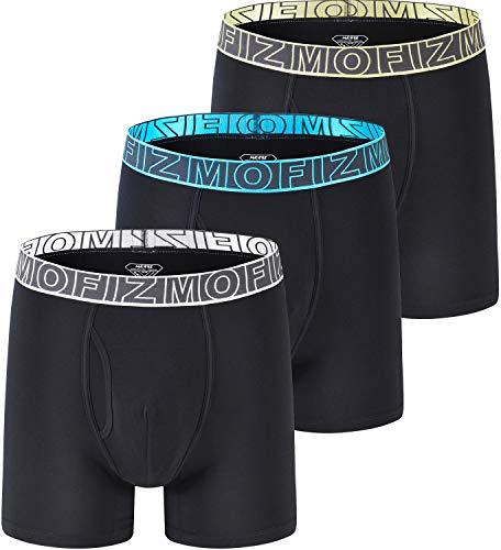 83759d8b151b MoFiz New Men's Bamboo Fiber Underwear Comfy Length Boxer Briefs Black 3Pack  Size L