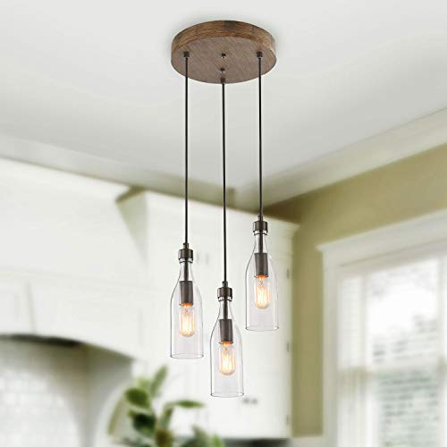 ISURAUL 3-Light Pendant Lighting for Kitchen Island, Wooden Farmhouse Chandelier with Clear Glass Bottle for Dining…