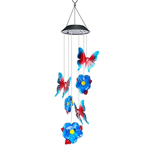 Sinloog Solar Wind Chimes, Wind chimes Outdoor LED Color-Changing Hanging Lamp Waterproof Solar Powered Wind Chimes for Indoor Outdoor Garden Patio Decoration (Butterfly) by Sinloog