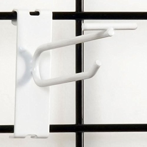 Count of 100 New Retails White Finish Gridwall Scanner Hook 4 Inch