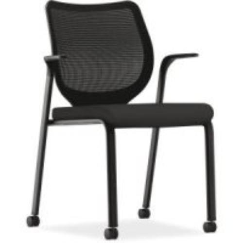 Hon Stacking Chair - HON Nucleus Mesh Back Guest Chair - Stacking Chair with Fixed Arms, Black (HN6)