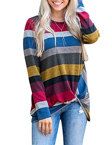 Knot Swing Dress (Women's Long Sleeve Striped Tunic Tops For Leggings Casual Swing Dress With Pockets (Small, Z Knot Top-Yellow))