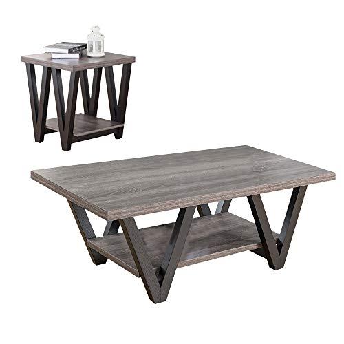 (Benzara Coffee & End One Shelf, Set of 2, Gray Coffee Table)