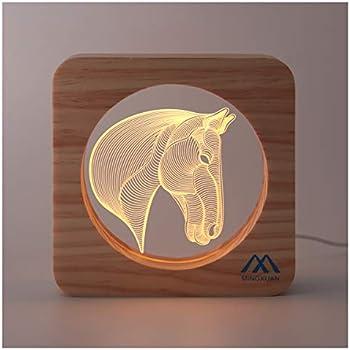 3D Night Light Horse Optical Illusion Night Lamp Creative Wooden Warm Light USB Low Power Lamp Nursery Decorative Night Light Birthday Girls Kids Baby Boys Gifts