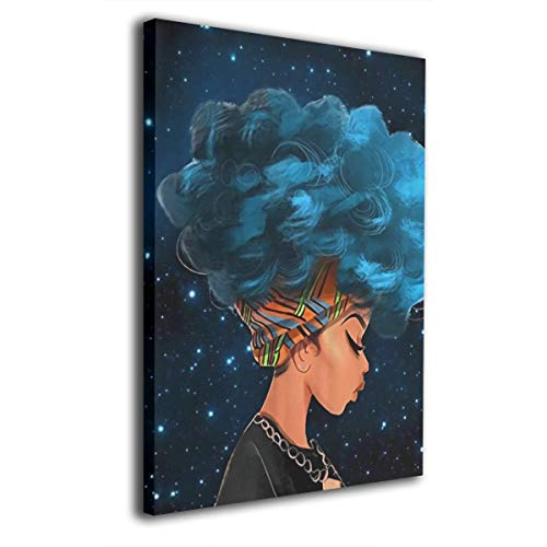 African Women with Blue Hair 8x12 Painting Canvas Wall Art Squidward Paintings Abstract Modern Style for Living Room Bedroom Bathroom