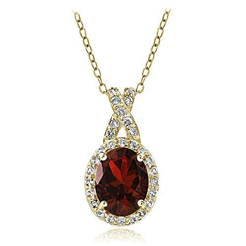 Yellow Gold Flashed Sterling Silver Garnet & White Topaz X and Oval Necklace