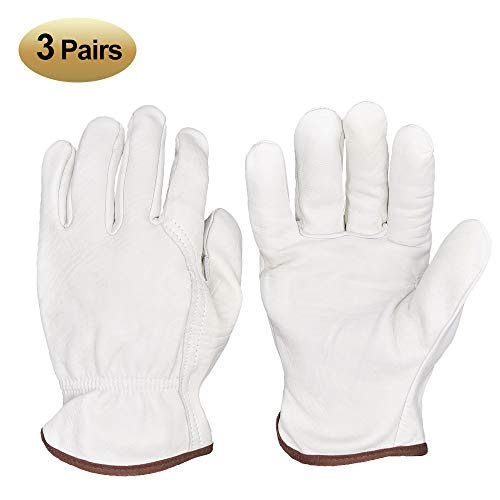 HOLYGRIP Genuine Sheepskin Leather Work Gloves, Utility Grip Gardening Gloves, Driver Gloves, with Elastic Wrist for Men/Women - Large Size 3 Pack