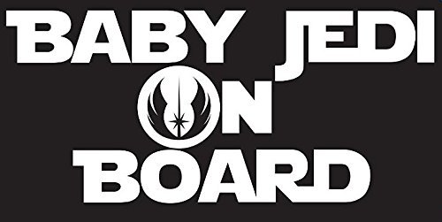 7.25 X 3.25 In Decal is White KCD191 Baby Jedi on Board Decal Sticker Inspired By Star Wars Car or Truck Decal
