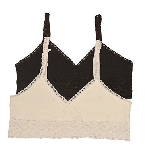 Big Girls Ivory Black Lace Trim Adjustable Strap 2 Pc Cami Bralette Set 16 (Lace Girls Trim Camis)