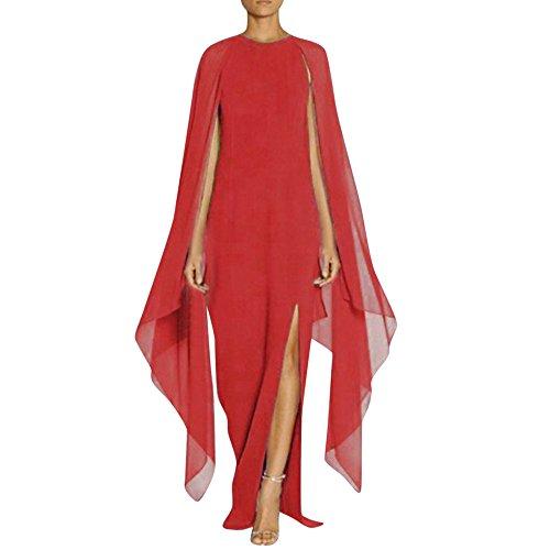 ALIKEEY Las Mujeres Vestido De Gasa Largo Abrigo Split Costura Vestido De Noche Larga Mujer Costura Vestido De Fiesta Vestido De Vaina Split Rojo
