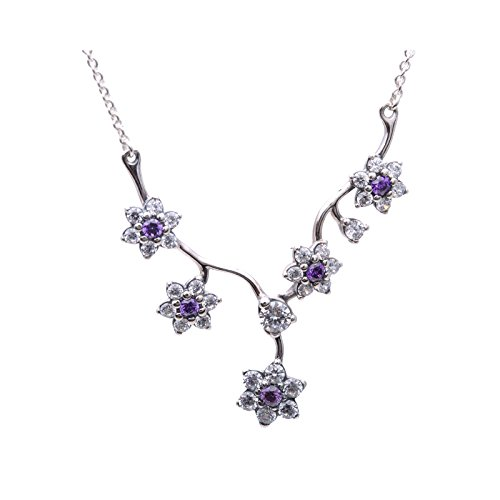 PANDORA Forget Me Not Purple Necklace 590519ACZ-45