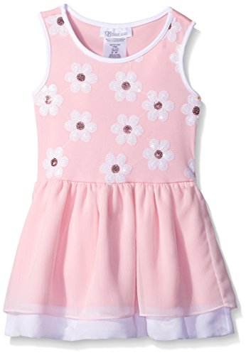 Bonnie Jean Little Girls' Knit Sequin Daisy Dropwaist Dress, Pink, (Daisy Knit Dress)