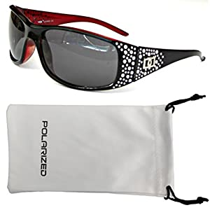 Vox Women's Polarized Sunglasses Designer Fashion Eyewear w/ Microfiber Pouch – Black & Red Frame - Smoke Lens
