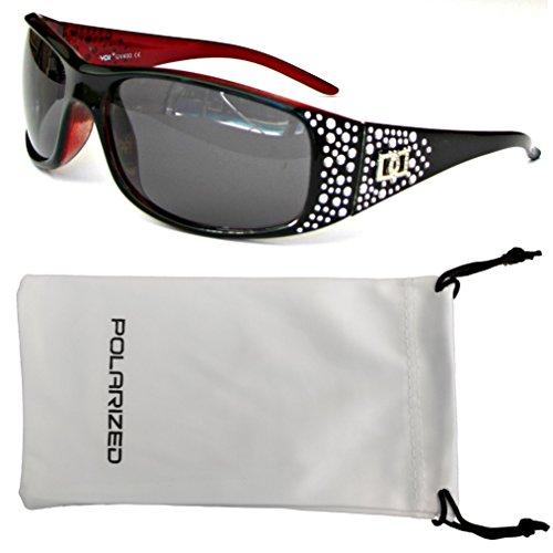Vox Women's Polarized Sunglasses Designer Fashion Eyewear w/ Microfiber Pouch – Black & Red Frame - Smoke - Designer Dg Sunglasses