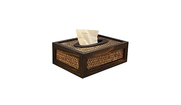 STOBOK Madera Caja Cuadrada para Pañuelos descartables - Rectangular Papel tisu Contenedor, Coche Oficina Hotel Casa Decoraciones, 21 x 15 x 7.5 cm: ...
