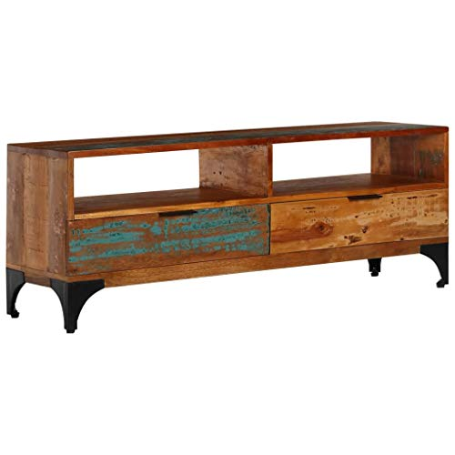 vidaXL TV Cabinet with 2 Drawers Solid Reclaimed Wood Sideboard HiFi Stand