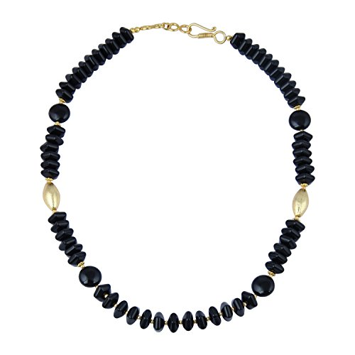 Pearlz Gallery Exciting Fancy Cut Roundel, Coin Shaped Black Agate Gem Stone Beads Necklace for Women ()