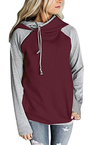 Yidarton Women's Hoodie Sweatshirt Long Sleeve Color Block Tops Pullover Sweatshirt (Medium, Burgundy)
