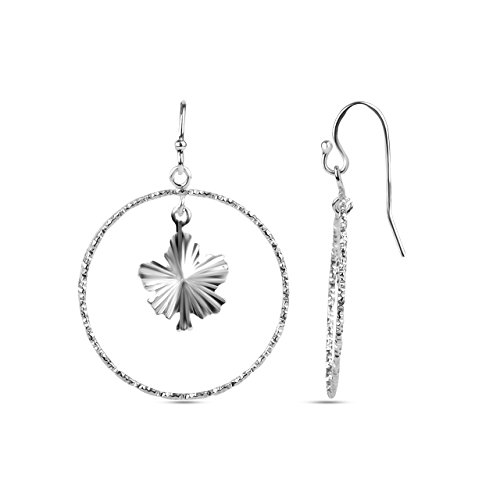 LeCalla Sterling Silver Jewelry Maple Leaf with Diamond Cut Dangler Earring for Women