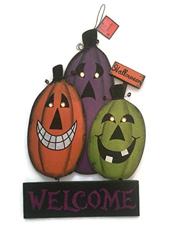 Cute Frat Halloween Costumes (Wooden Halloween Jack O' Lantern Glitter Welcome Sign Decoration)