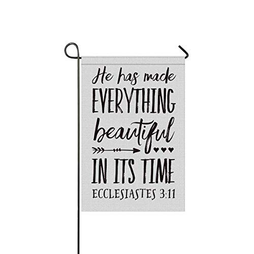 INTERESTPRINT Religious Christian Bible Verse He Has Made Everything Beautiful Decorative Flag Garden Flag House Banner for Wishing Party Wedding Yard Home Decor 12
