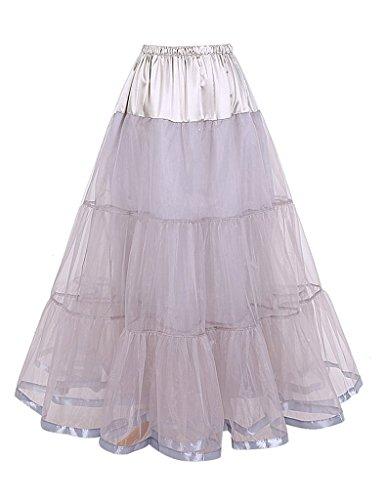 DaisyFormals Tobillo Largo Retro Enagua tul niña 50s Vintage Rockabilly Tutu falda, 100cm Longitud(FBA de color específico) Grey