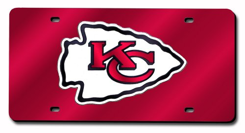 NFL Kansas City Chiefs Laser Inlaid Metal License Plate Tag